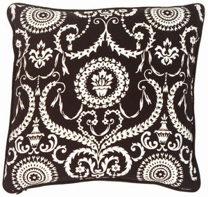 "Versailles Black 10""x10"" Square Decorative Throw Pillow"