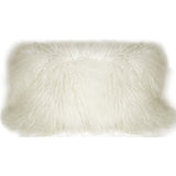 Mongolian Sheepskin Snow White Rectangular Pillow
