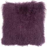 Mongolian Sheepskin Purple Throw Pillow