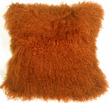 Mongolian Sheepskin Burnt Orange Throw Pillow