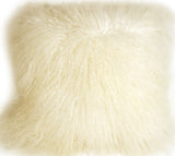 Mongolian Sheepskin Natural White Throw Pillow