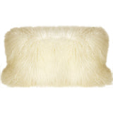 Mongolian Sheepskin Natural White Rectangular Pillow