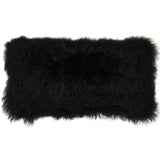 Mongolian Sheepskin Black Rectangular Pillow