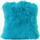 Mongolian Sheepskin Turquoise Blue Throw Pillow