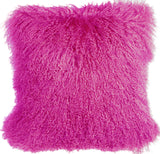 Mongolian Sheepskin Hot Magenta Pink Throw Pillow