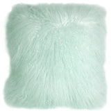 Mongolian Sheepskin Pastel Mint Throw Pillow