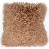 Mongolian Sheepskin Light Mocha Throw Pillow