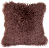 Mongolian Sheepskin Light Brown Throw Pillow
