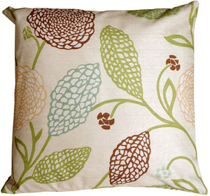 Country Floral Green and Brown 22x22 Throw Pillow