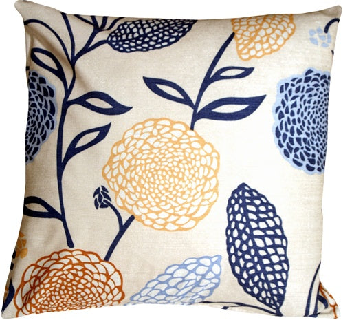 Country Floral Blue and Yellow 22x22 Throw Pillow