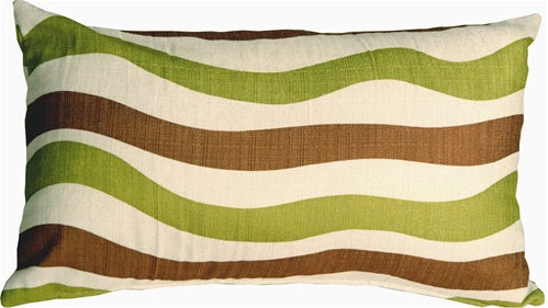 Country Stripes Green and Brown 12x20 Throw Pillow