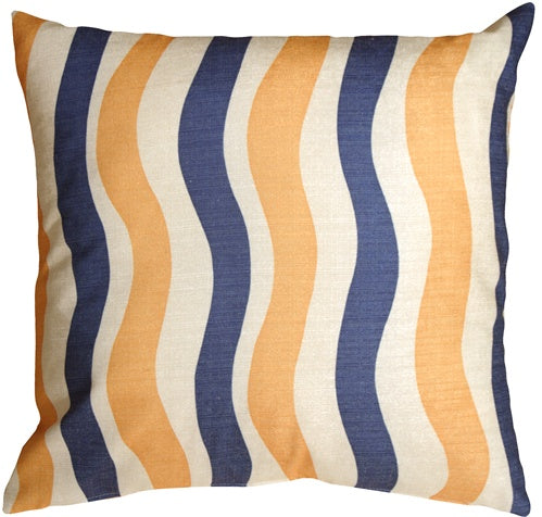 Country Stripes Blue and Yellow 20x20 Throw Pillow
