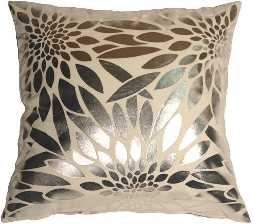 Metallic Floral Cream Square Throw Pillow
