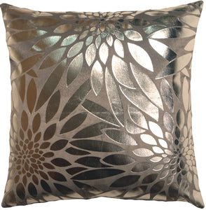 Metallic Floral Gray Square Throw Pillow