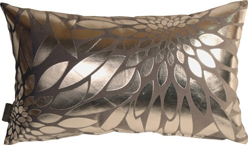 Metallic Floral Gray Rectangular Throw Pillow