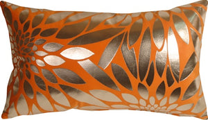 Metallic Floral Bright Orange Rectangular Throw Pillow