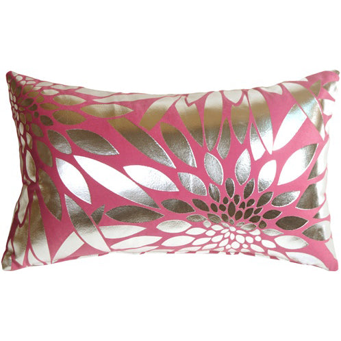 Metallic Floral Pink Rectangular Throw Pillow