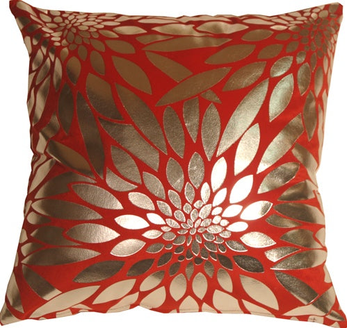 Metallic Floral Red Square Throw Pillow