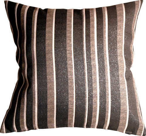 Glitter Stripes 20x20 Cream and Gray Throw Pillow
