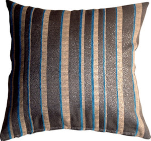 Glitter Stripes 20x20 Blue and Gray Throw Pillow
