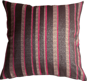 Glitter Stripes 20x20 Pink and Gray Throw Pillow