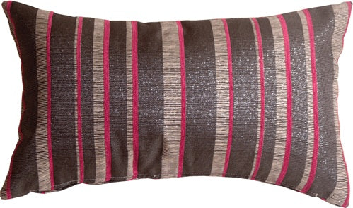 Glitter Stripes 12x20 Pink and Gray Throw Pillow