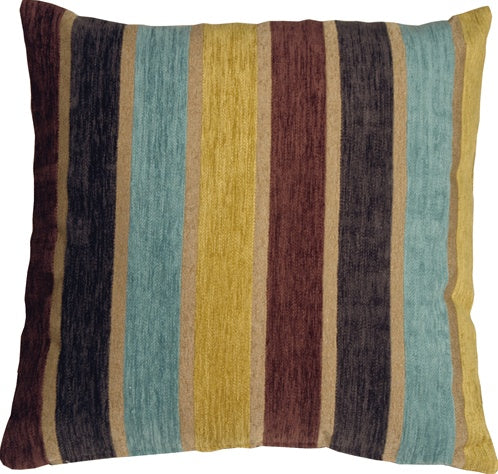Savannah Stripes 20x20 Yellow Blue Chenille Throw Pillow