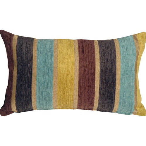 Savannah Stripes 12x20 Yellow Blue Chenille Throw Pillow