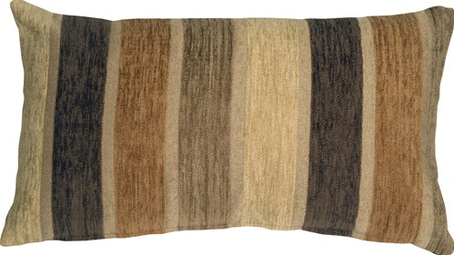 Savannah Stripes 12x20 Brown Cream Chenille Throw Pillow