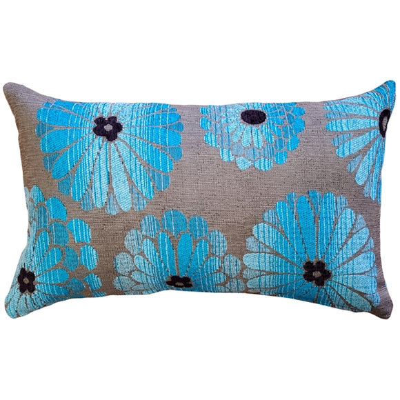 Shasta Blue Floral Throw Pillow 12x20