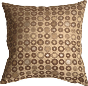 Houndstooth Spheres 18x18 Brown Throw Pillow