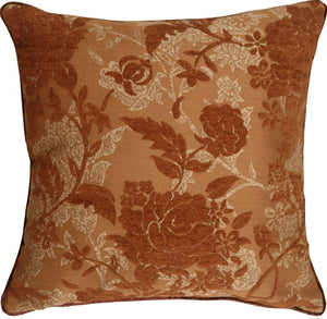 Traditional Floral in Rust 18x18 Decorative Pillow