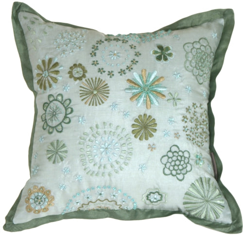 Floral Delight Green Pillow
