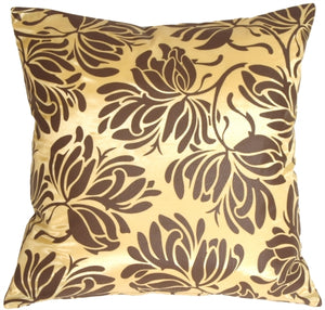 Bold Chocolate Flowers on Yellow Accent Pillow