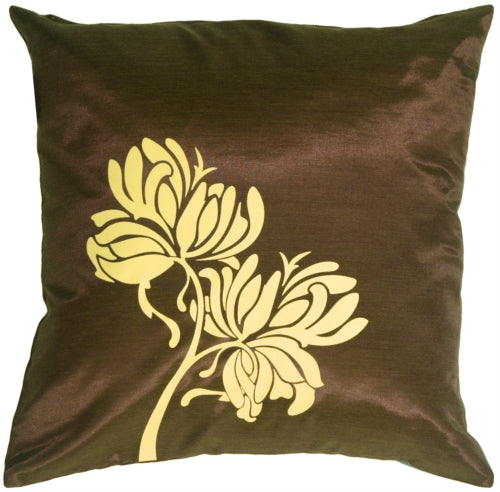 Yellow Flowers on Chocolate Accent Pillow