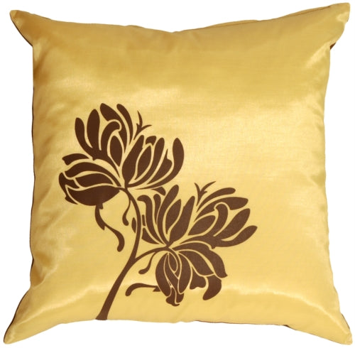 Chocolate Flowers on Yellow Accent Pillow