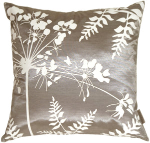 Gray with White Spring Flower and Ferns Pillow 20x20