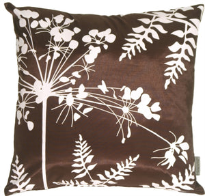 Brown with White Spring Flower and Ferns Pillow 16x16