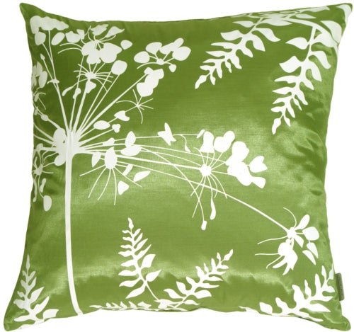 Green with White Spring Flower and Ferns Pillow 16x16