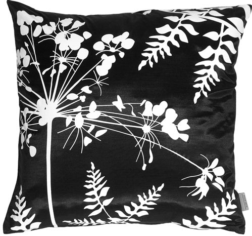 Black with White Spring Flower and Ferns Pillow 16x16