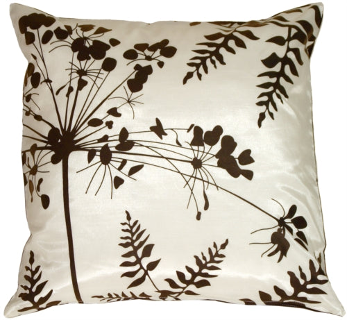 White with Brown Spring Flower and Ferns Pillow 20x20