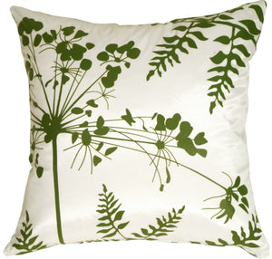 White with Green Spring Flower and Ferns Pillow 20x20