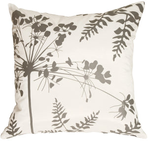 White with Gray Spring Flower and Ferns Pillow 20x20