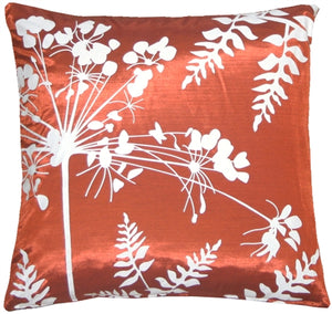 "Red with White Spring Flower and Ferns 16"" Pillow"