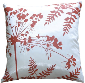 "White with Red Spring Flower and Ferns 20"" Pillow"