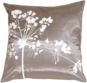 Gray with White Spring Flower Throw Pillow