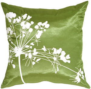 Green with White Spring Flower Throw Pillow