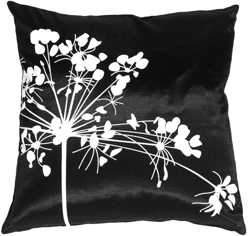 Black with White Spring Flower Throw Pillow