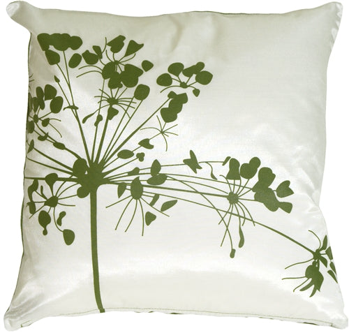 White with Green Spring Flower Throw Pillow