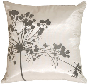 White with Gray Spring Flower Throw Pillow